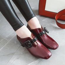 Load image into Gallery viewer, British Style Medium-heel Square Head Women Chunky Pumps