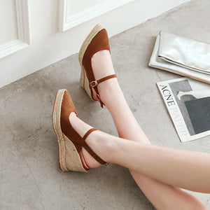 Women's High Heel Buckle Belt Wedges Sandals