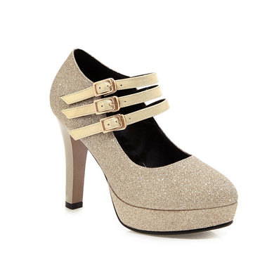 Women's Chunky Heel Pumps Super High Heel Wedding Shoes