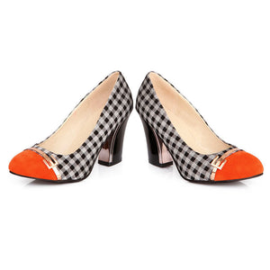 Plaid High Heel Shallow Mouth Round Head Color Matching Women Pumps