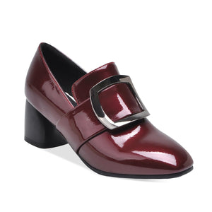 Patent Leather Women Chunky Heels