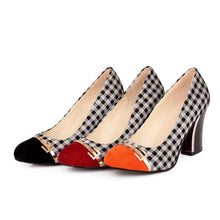 Load image into Gallery viewer, Plaid High Heel Shallow Mouth Round Head Color Matching Women Pumps