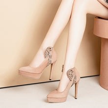 Load image into Gallery viewer, Pointed Toe Sexy Super High-heeled Shallow-mouthed Women Platform Pumps Stiletto Heel Shoes