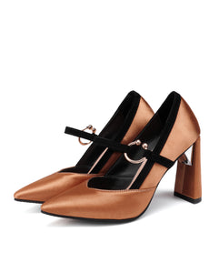 Super High Heel Pointed Toe Chunky Heel Pumps