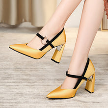 Load image into Gallery viewer, Super High Heel Pointed Toe Chunky Heel Pumps