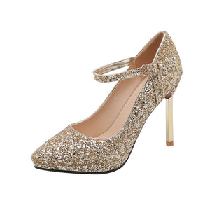 Bride Women Shoes Super High Heeled Sequins Pumps
