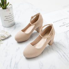 Load image into Gallery viewer, Shallow-mouthed Round Head Ankle Strap Women Pumps