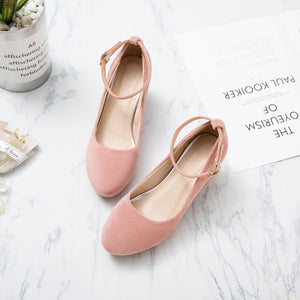 Shallow-mouthed Round Head Ankle Strap Women Pumps