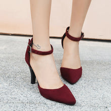 Load image into Gallery viewer, Pointed Toe Buckle with Hollow Women's Sandals High Heels