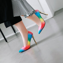 Load image into Gallery viewer, Super High Heel Gradient Rainbow Patent Leather Women Pumps
