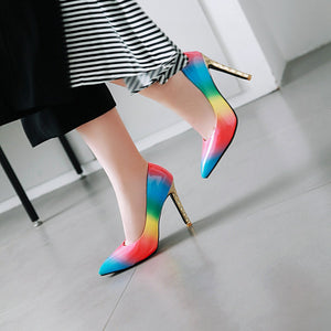 Super High Heel Gradient Rainbow Patent Leather Women Pumps