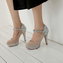 Load image into Gallery viewer, Women's Chunky Heel Pumps Super High Heel Sequins Wedding Shoes