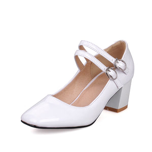 Square Head High Heel Shallow Mouth Women Pumps