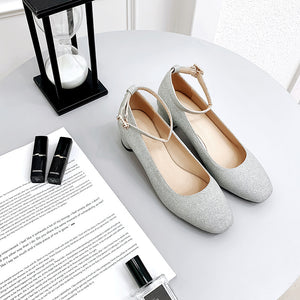 Sequin Bride Shoes Thick-heeled Medium-heeled Square Head Buckle Shallow-mouth Women Chunky Pumps