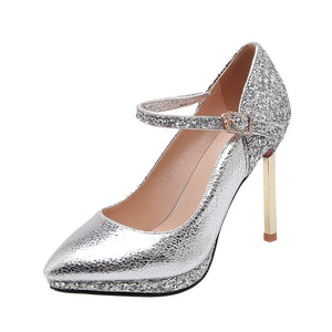 Sexy Wedding Shoes Super High Heel Pointed Toe Sequined Women Pumps