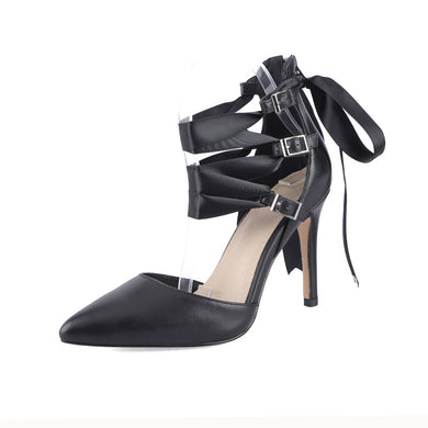 Women's Pointed Toe Real Leather Buckle High Heel Bridal Stiletto Heel Sandals