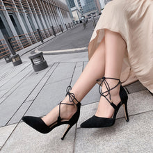 Load image into Gallery viewer, Women's Bridal Shoes Ultra High Heel Real Leather Strappy Stiletto Heel Sandals