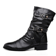 Load image into Gallery viewer, Women's Mid Calf Motorcycle Boots Low Heel