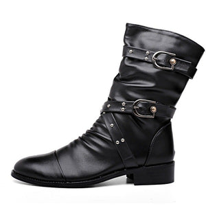 Women's Mid Calf Motorcycle Boots Low Heel