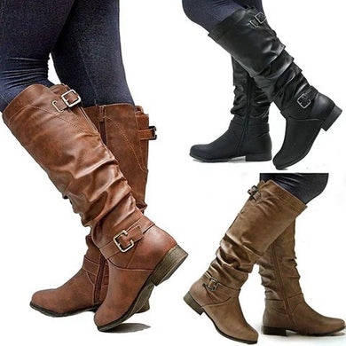 Low Heel Belted Women's Knight Boots