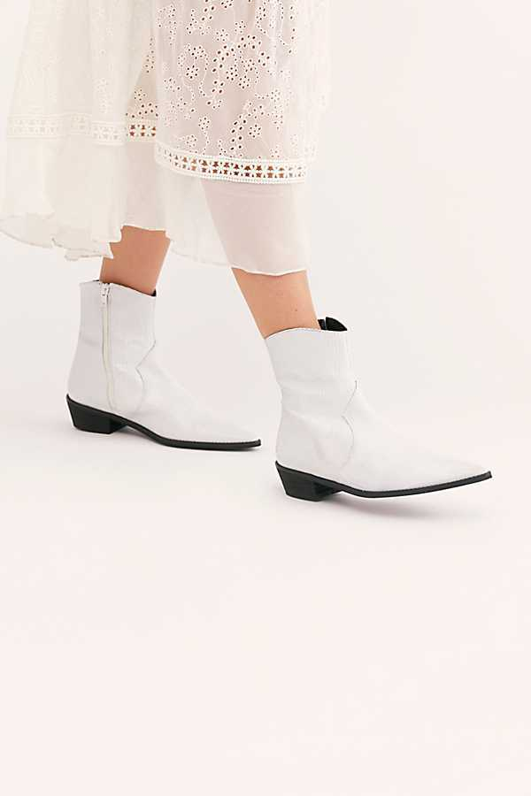 Women's Motorbike Boots Pointed Toe Low-heeled Ankle Boots