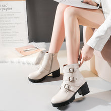 Load image into Gallery viewer, Women's Buckle Platform Ankle Boots