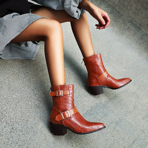Women's Buckle Belt Ankle Boots