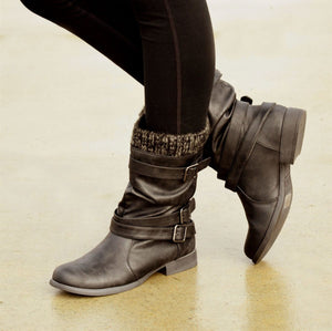 Women's Mid Calf Motorcycle Boots Low-heeled
