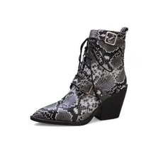 Load image into Gallery viewer, Women's Pointed Cross Strap Ankle Boots