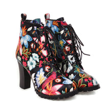Load image into Gallery viewer, Women's Super High Heel Flower Ankle Boots
