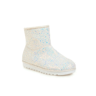 Women's Flat Sequins Round Head Snow Boots