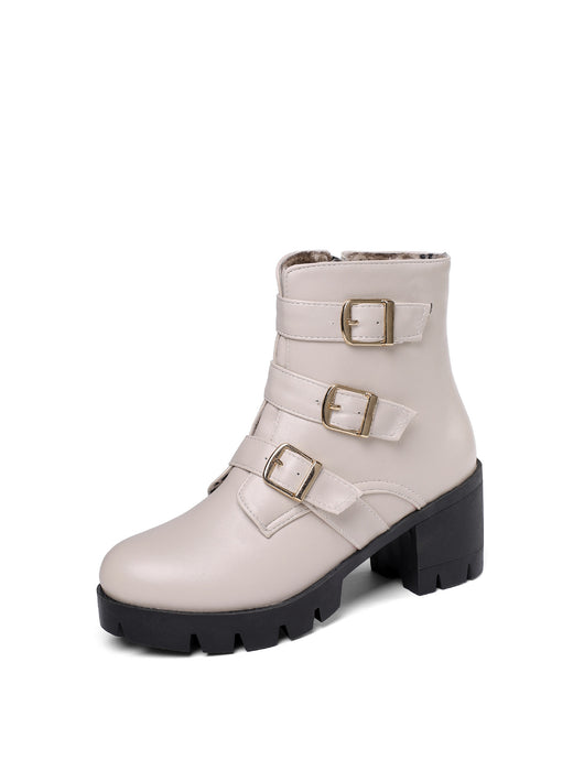 Women's Buckle Platform Ankle Boots