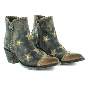 Women's Star Rivet Low Heeled Ankle Boots