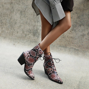 Women's Pointed Cross Strap Ankle Boots