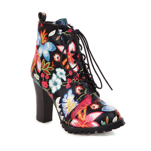 Women's Super High Heel Flower Ankle Boots