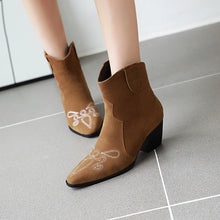 Load image into Gallery viewer, Women's Pointed Chunky Heels Short Boots