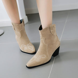 Women's Pointed Chunky Heels Short Boots