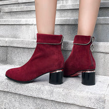 Load image into Gallery viewer, Women's Chunky Heeled Short Boots