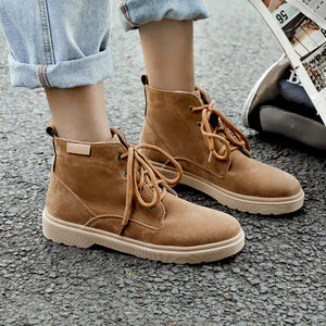 Women's Flat Lace-up Ankle Boots