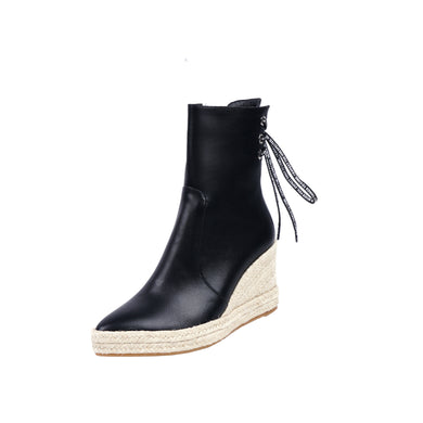 Women's Pointed High Heel Wedge Zipper Ankle Boots