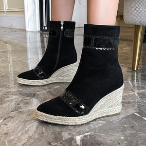 Women's High Heel Wedges Heeled Ankle Boots
