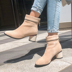 Women's Chunky Heeled Short Boots