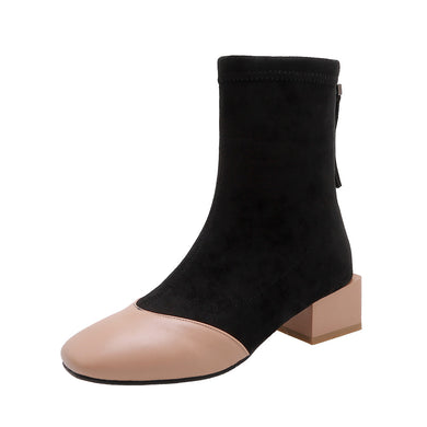 Women's Middle Heel Square Head Short Boots