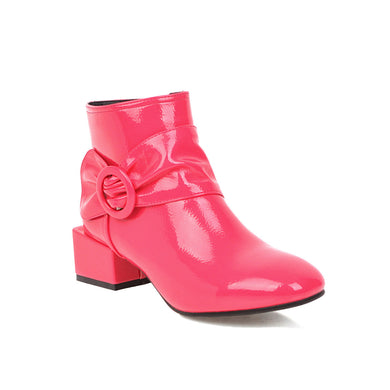 Women's Square Heel Bow Short Boots