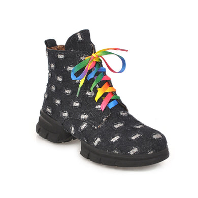 Women's Middle Heel Lace Up Short Boots