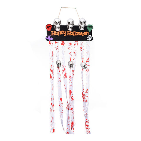 Halloween Flag with Skull Scarlet Decoration Ghost Festival Dress Up Props Ornaments