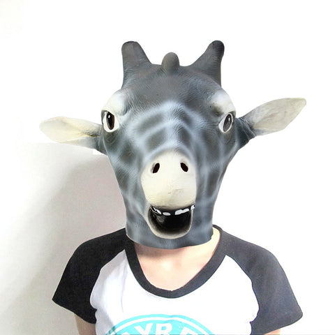 Giraffe Head Mask Halloween Latex Gadget