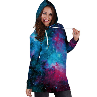 Drawstring 3D Galaxy Printed Long Sleeved Hooded Dress 9288