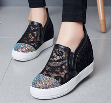 Load image into Gallery viewer, Sequined Women Wedges Cutout Platform Shoes
