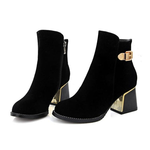 f513bb1b9 Black Ankle Boots with Zipper Buckle Low Heel Women Shoes 76115250